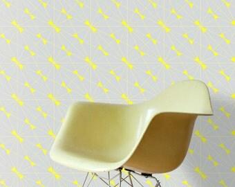 CORA Wallpaper / light grey & yellow