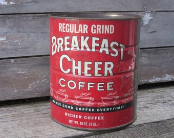 Vintage Home Decor Coffee Can Breakfast Cheer Red Metal Container Storage Display Country Farm Retro Kitchen Rustic Primitive Vtg Old Can