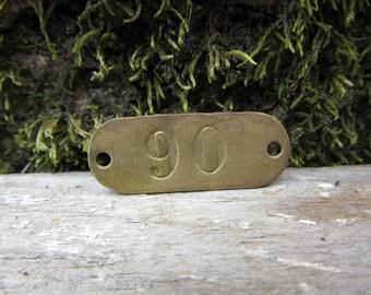 Number Tag Vintage Original Locker Basket Tag Brass Metal Number 90 Tag #90 Tag Lucky Number Address Door Number vtg Early 1900's Old