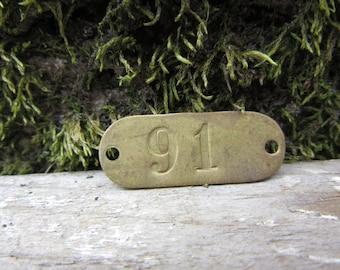 Number Tag Vintage Original Locker Tag Basket Tag Brass Metal Number 91 Tag #91 Tag Lucky Number Address Door Number vtg Early 1900's Old