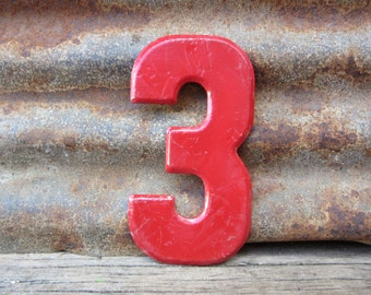 Number Sign Vintage Metal #3 Sign Three Sign 7 1/2 Inch Distressed Red Paint Marquee Sign Wall Art vtg Alphabet Letter Advertising Old