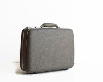vintage small gray suitcase with key 1950s American Tourister