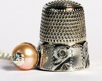 Peter Pan Antique Thimble and Acorn Necklace Sterling Silver