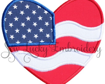 American Flag Heart Appliqued  Embroidered Patch , Sew or Iron on