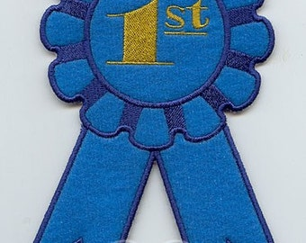 Award Ribbon 1st 2nd or 3rd Place Applique Embroidered Patch , Sew or Iron on