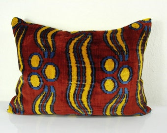 Handmade Silk Velvet Ikat pillow cover Lp149, Bohemian pillow