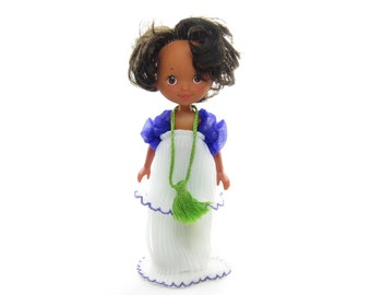 Iris Doll Rose Petal Place Vintage Black African American with White & Purple Dress