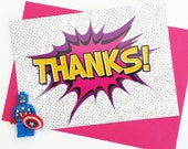 Thank You Cards, Girls, Superhero, Thankyou Card, Superhero Party, Childrens Party, Pink, Paper, Stationery, Note Cards, Thank You Card Set