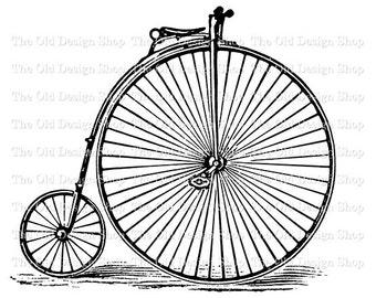 Antique Bicycle Clip Art Vintage Two Wheel Velocipede Bike Illustration Digital Download PNG JPG Image