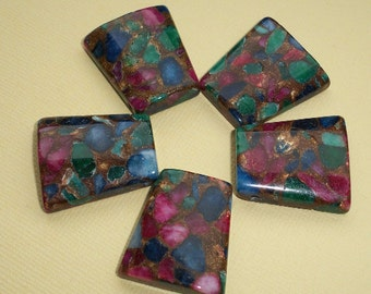 Agate Trapezoid Pendant 25mm Composite Pink Green Brown (1)
