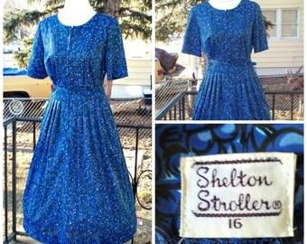 Vintage 1950s Blue Floral Print Shelton Stroller Dress Belt Rockabilly VLV M