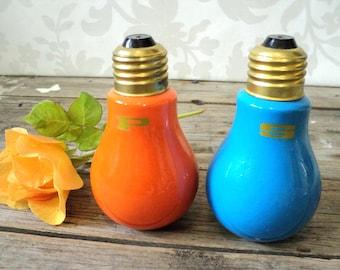 Salt and Pepper Shaker, Orange and blue light bulbs, ceramic,  mid century, marker Japan