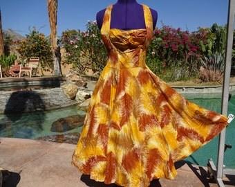 Vintage 1960s dress sundress 60s Hawaiian Kamehameha smocked halter bombshell pinup L/XL