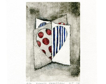 two hearts together mini print etching