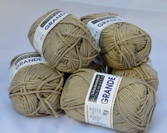 Yarn for Knitting or Crochet, Six Skeins, Worsted Weight, Acrylic Cotton Blend, Khaki, Schachenmayr GRANDE Leinen