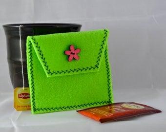 Light Green Tea Tote, Reusable Tea Pouch, Tea Bag Carrier, Tea Wallet, Tea Bag Pouch, Tea Accessory, Easter Gift