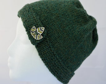 Forest Green Beanie, Green Cloche, Button Brim Hat, Hand Knit Beanie, Button Hat, Teen Beanie, Womens Hat, Knitted Hat