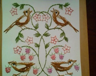 Greeting Card, Birds, Hand Stitched