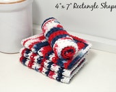 Eco Friendly Reusable Dishcloths - Red, White & Blue Dishcloths - Handmade Set of 4