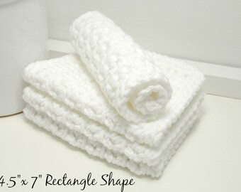 Handmade White Cotton Dishcloths - White Eco Friendly Kitchen Cloths - Crochet Dishcloths - Housewarming Gifts - Set of 4