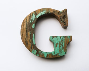 "Beach Decor Wooden LETTER ""G"" Vintage Style Nautical by SEASTYLE"