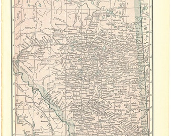 1917 Hammond's Vintage Map Pages (Alberta Canada on one side and Northern British Columbia on the other side)