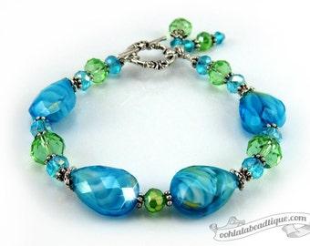 Blue Green Lampwork Bracelet blue bead bracelet birthstone jewelry gift under 25 gifts holiday bracelet murano glass bracelet gift for her