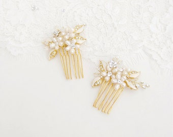 Bridal flower comb set, crystal pearl hair brooch, wedding hair jewelry, floral leaf hairpins, gold headpieces, bride accessory - Style 219