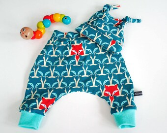 Baby harem pants and hat set, teal foxes, newborn
