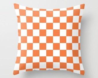 36 colours, Checkerboard pattern Pillow, Celosia Orange pillow, Fall decor, Nordic Scandi decor, Faux Down Insert, Indoor pillow cover