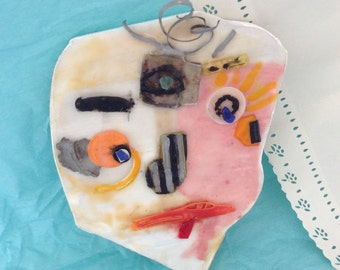 Encaustic Art - Wall Mask - original art - Title: Insight - Third Eye - mixed media collage - Beeswax Art - Wall Candy - WhatNaughts Series