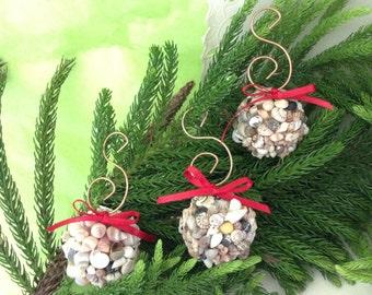 Hawaiian Christmas Ornaments - seashell balls - Beach Christmas Ornaments - Shell Decor - Seashell Ornament - Island Theme Decor - Coastal