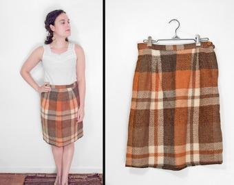 AUTUMNAL Wool Skirt 1960s // Plaid Mini Oatmeal Pumpkin Size S / M