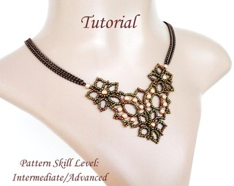 DENTELLE D'ALENCON beaded necklace beading tutorial and pattern seed bead beadwork jewelry beadweaving tutorial beading pattern instructions