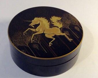 Otagiri Black Lacquer Coasters, Unicorn Motif