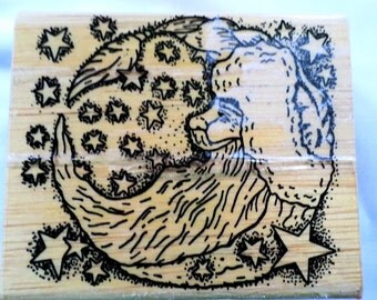 Moon Santa Christmas Stamp pads Wood Rubber Rare