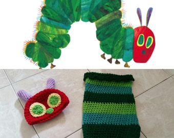 Crochet The Very Hungry Caterpillar Outfit (Beanie, cocoon)