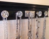 necklace holder, black jewelry organizer.This wall rack has 5 silver knobs classic simple look 15 inches long. Great gift of