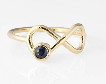 Sapphire Infinity Ring, Yellow Gold Ring, 10k Gold Jewelry, Infinity Sapphire Ring, Promise Ring, September Birthstone, Valentines Day Gift
