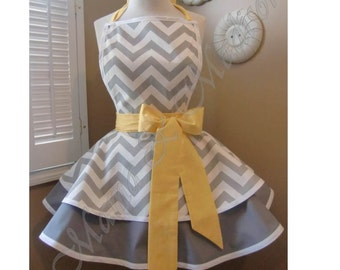 Chevron Print Accented with Citron Yellow Womans Retro Apron With Tiered Skirt And Bib