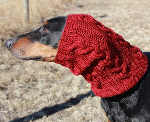Knitting Pattern Dog Snood : Braided Cables - Dog Snood PATTERN for medium to large dogs - Knitting Patter...