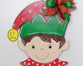 Elf Door Hanger, Christmas Door Hanger, Elf Hat Door Hanger, Christmas Elf, Santa's Helper,