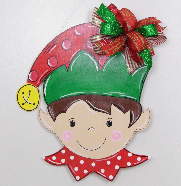 Elf door hanger christmas door hanger elf hat door hanger for Elf door and elf