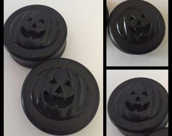 Ebony Black on Black jack O lantern Halloween Organic ear plugs gauges