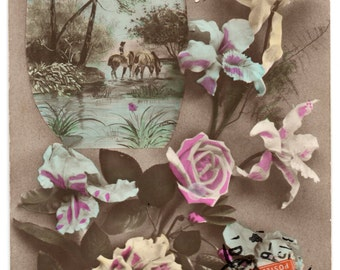 Antique Postcard From France Bonne Fete Happy Birthday French Floral Card Vintage Flowers Paper Ephemera