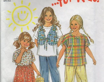 Top Skirt Vest And Pants Girl's Size Ages 3 4 5 6 7 8 Children's Shirt Or Blouse Sewing Pattern 1995 New Look 6372
