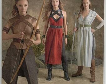Warrior Dress Harnesses Arm Wrist Band Belt Leggings Overskirt Plus Size 14 16 18 20 22 Adult Costume Sewing Pattern 2016 Simplicity 8074
