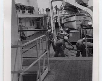 Vintage Military Photo Of Sailors Working On Ship Black And White Photo US Navy Memorabilia Paper Ephemera