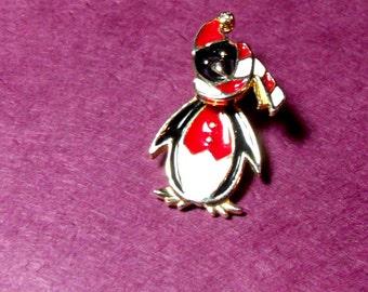 Penguin pin, Penguin Santa brooch, Holiday pins, Penquins, Christmas brooch, Holiday coat pin