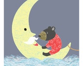 Print  {Children's Illustration} 21cm x 24cm: Black Bear with Mr Wise Old Moon / Children / Story